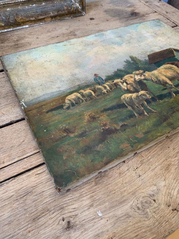 ancienne huile sur toile 19ème troupeau de moutons et berger