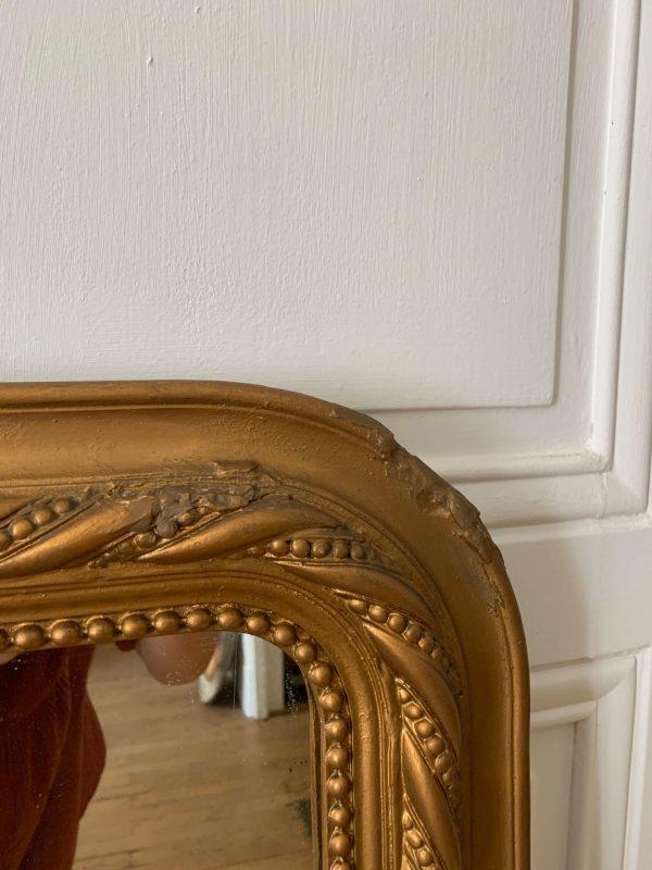 ancien miroir Louis Philippe en bois et stuc doré