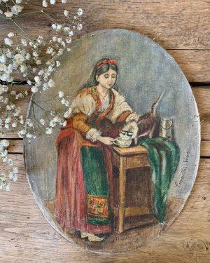 ancienne peinture à l'huile la femme milanaise sur toile fixée sur carton