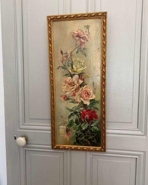ancienne peinture fleurs peinture à l'huile roses