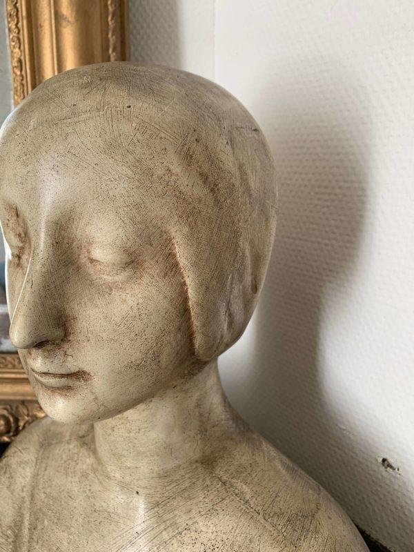 ancien buste de femme art nouveau en platre
