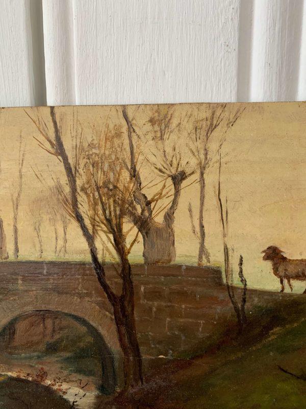 ancienne peinture à l'huile sur carton paysage berger
