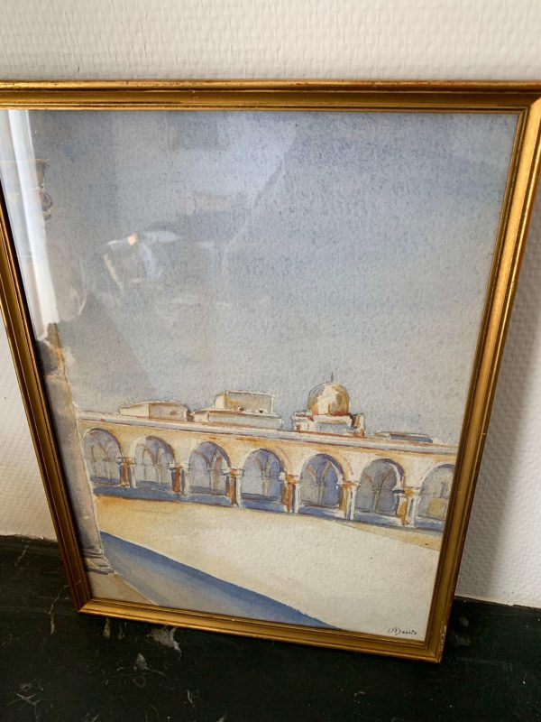 ancienne peinture aquarelle orientaliste