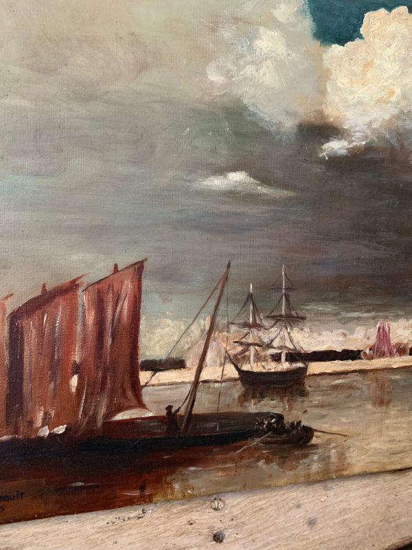 ancienne huile sur toile marine début 20ème