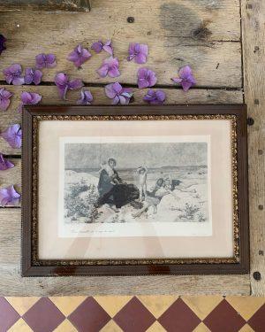 ancienne gravure la plage les loups de mer d'après virginie demont breton