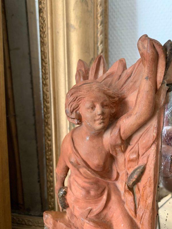 ancien miroir femme en terre cuite époque art nouveau