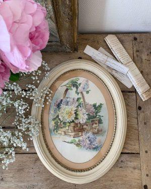ancienne aquarelle fleurs sur papier debut 20ème