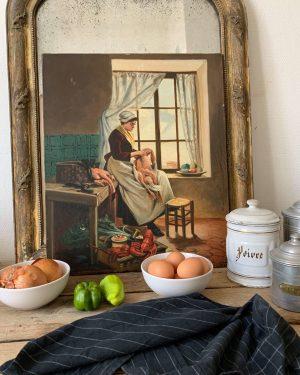 ancienne huile sur toile cuisine dame début 20ème fin 19ème