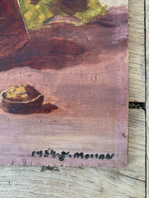 peinture à l'huile ancienne nature morte yves moisan