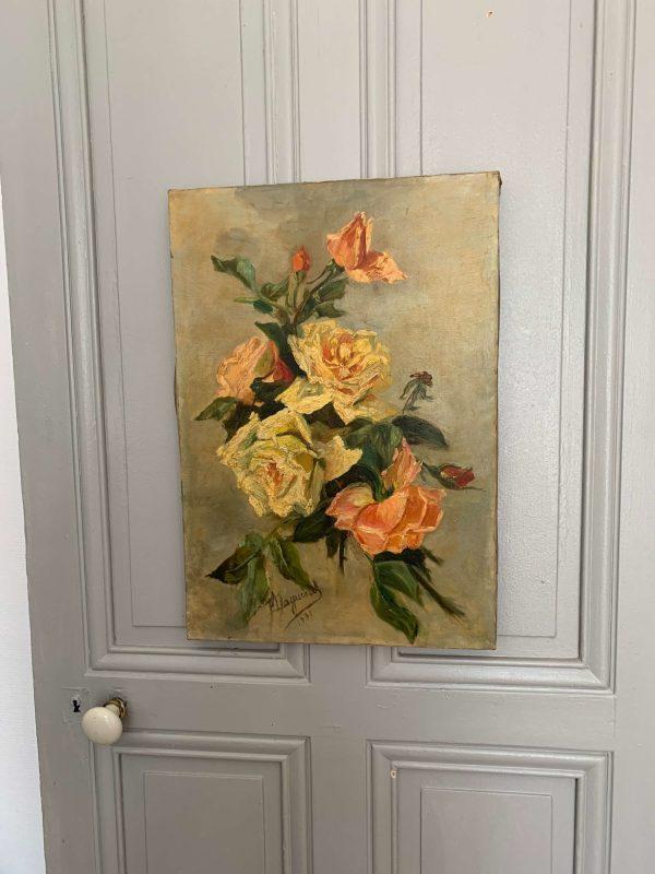 ancienne huile sur toile 1900 peinture fleurs roses