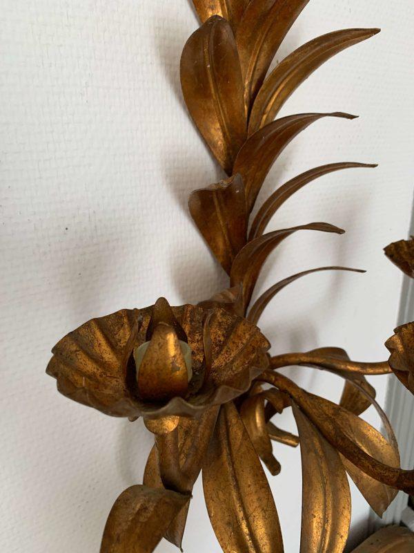 ancienne applique dorée feuilles vintage