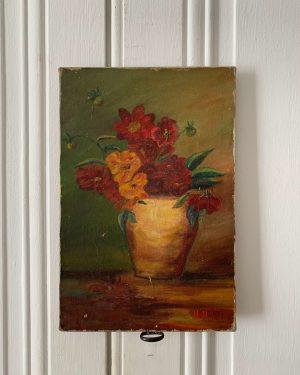 ancienne huile sur toile fleurs
