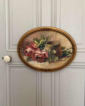ancienne peinture à l'huile roses