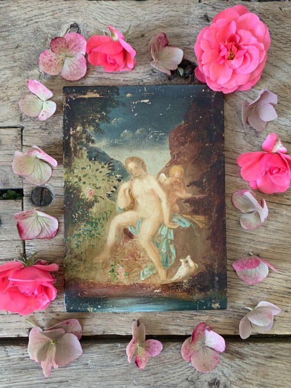 ancienne peinture à l'huile cupidon et vénus