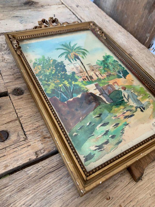 ancienne peinture orientaliste aquarelle maroc