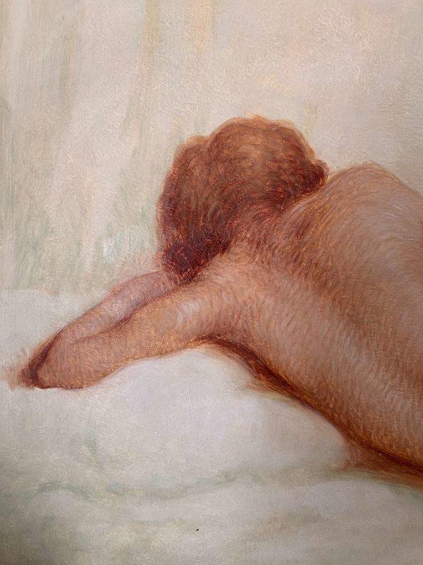 ancienne peinture à l'huile nu art déco femme