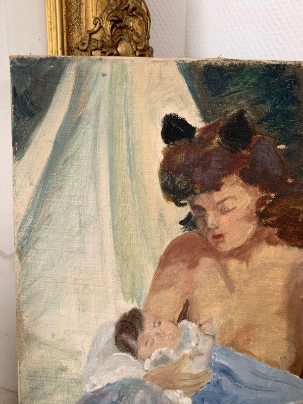 ancienne peinture à l'huile maternité