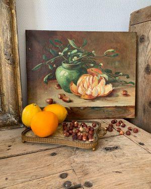 ancienne huile sur toile nature morte orange et gui début 20ème