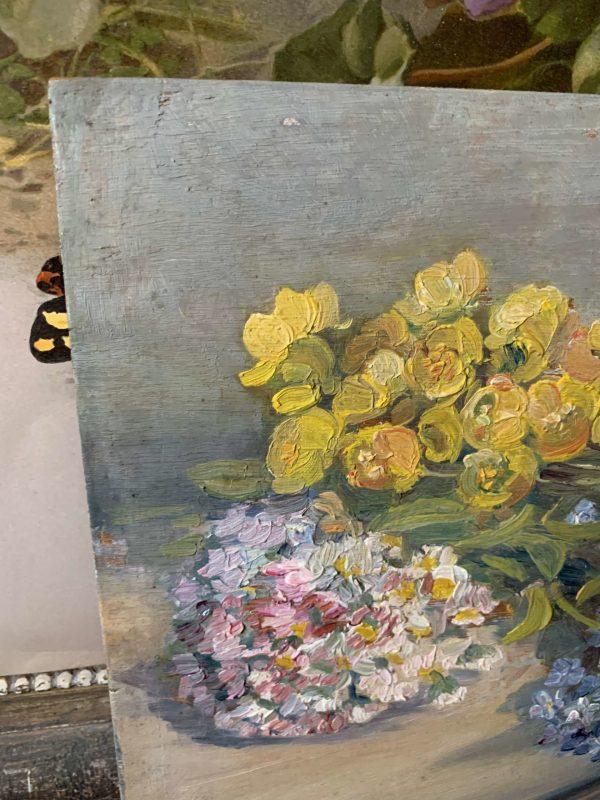 ancienne peinture fleurs sur bois