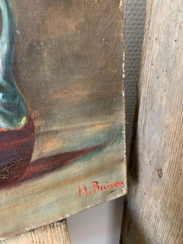 ancienne huile sur toile nature morte vers 1900
