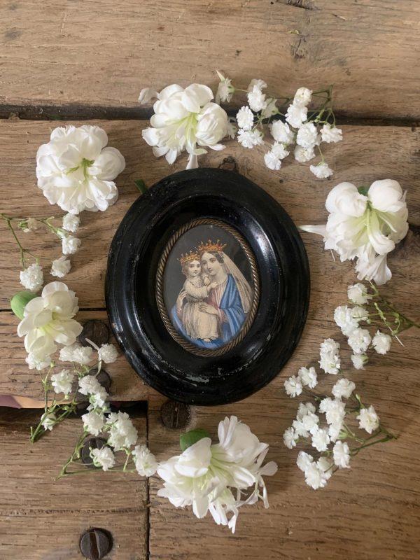ancien cadre reliquaire vierge à l'enfant