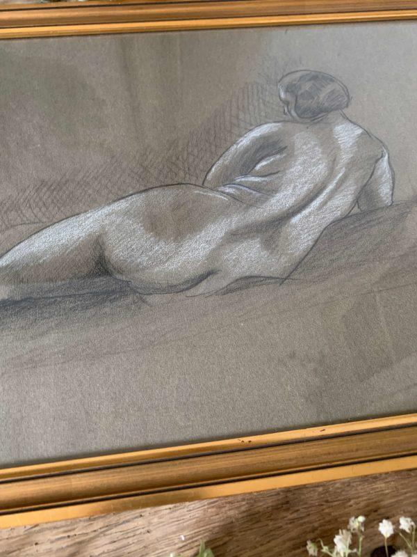 ancien nu au crayon et au pastel art déco