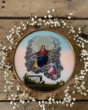 ancienne boîte à dragées 19ème charles x fixé sous verre assomption de la vierge Marie