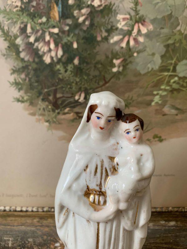 ancienne vierge à l'enfant en porcelaine 19ème