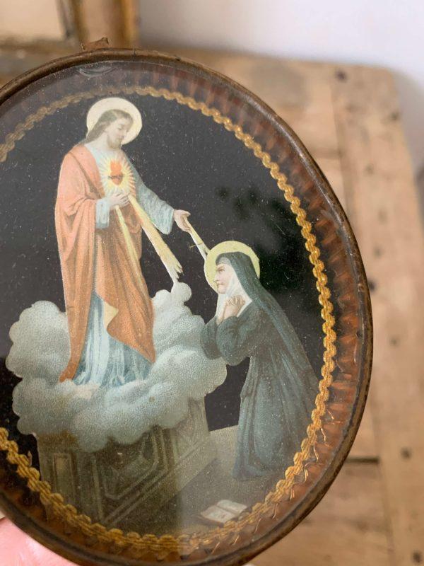 ancien cadre reliquaire christ et none image pieuse