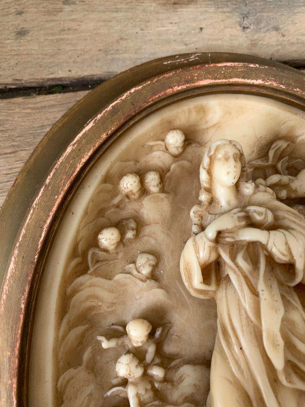 ancien tableau vierge et putti en cire vers 1900