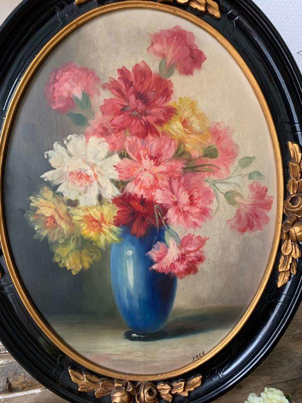ancienne peinture à l'huile sur bois fleurs oeillets