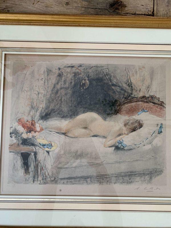ancienne gravure art déco femme nue