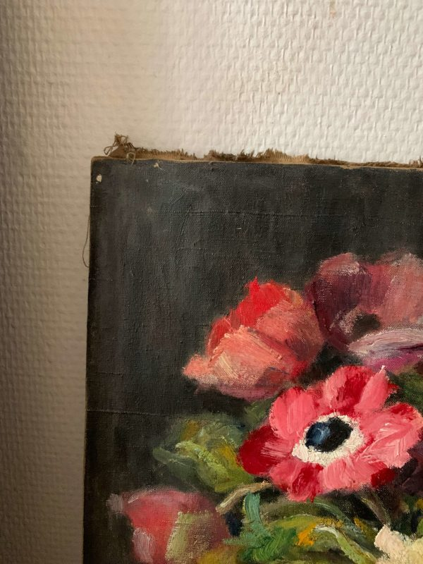 ancienne peinture fleurs toile