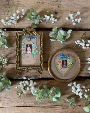 ancien cadre laiton et image pieuse en relief 19ème