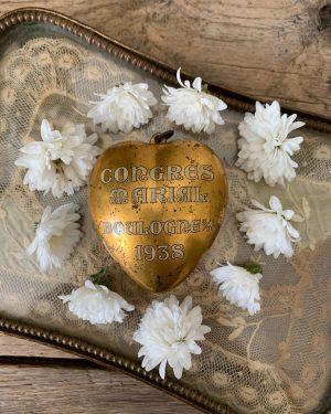 ancien coeur doré souvenir du congrès marial de 1938