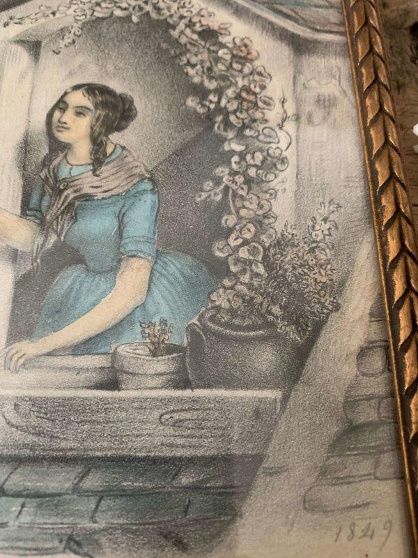 dessin ancien romantique xixème siècle au crayon rehaussé à l'aquarelle