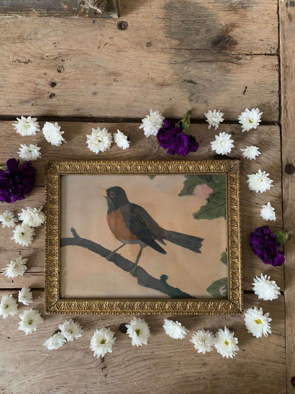 ancienne peinture à la gouache oiseau cadre doré stuc