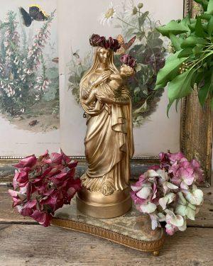 ancienne vierge dorée à l'enfant couronne de fleurs