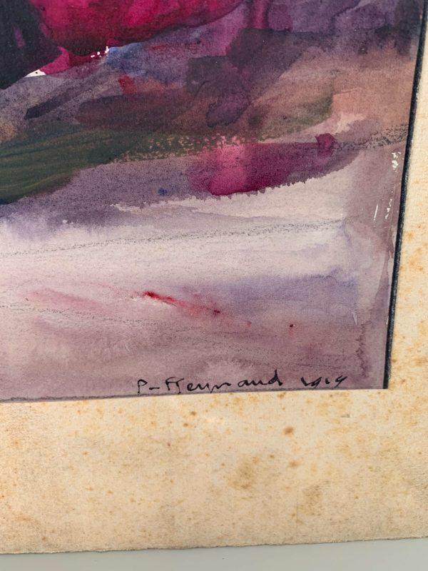 ancienne peinture aquarelle roses fleurs
