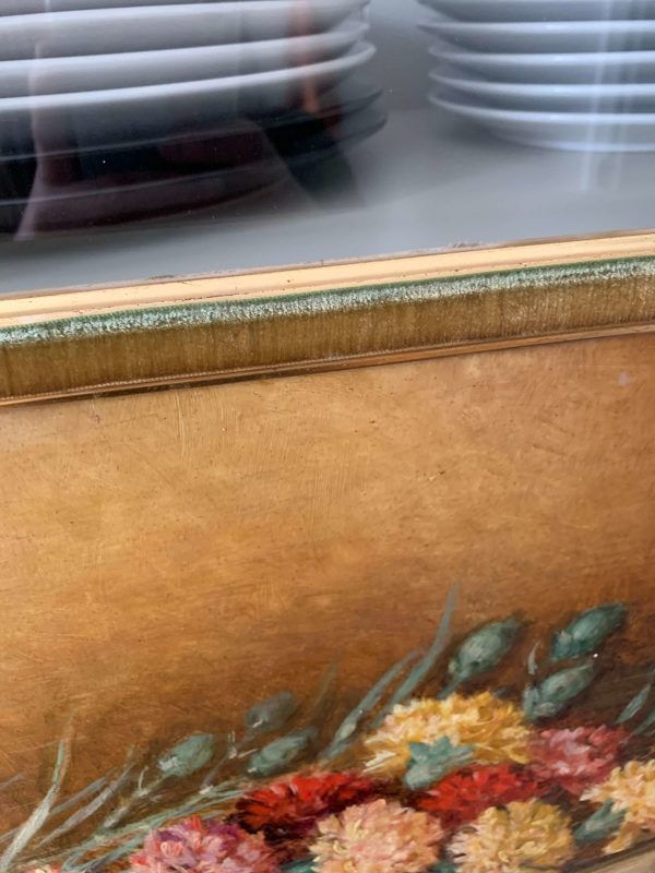 ancienne peinture à l'huile sur panneau oeillets 1938 cadre velours