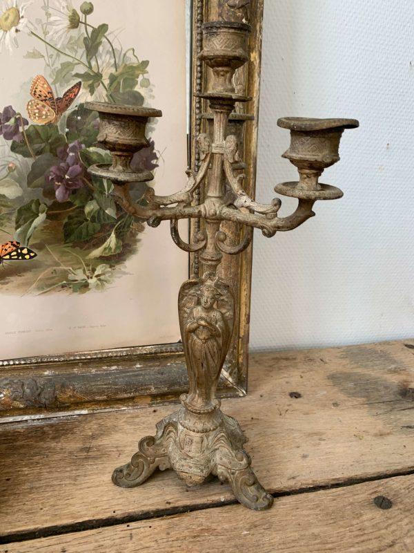 paire d'anciens chandeliers en régule anges