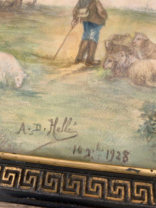 ancienne aquarelle le berger 1928