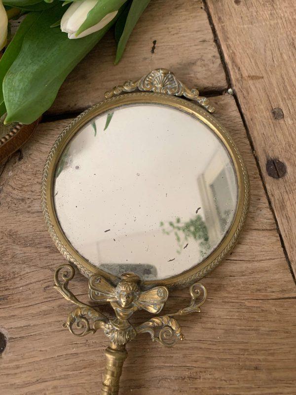 ancien miroir face à main en bronze charles x