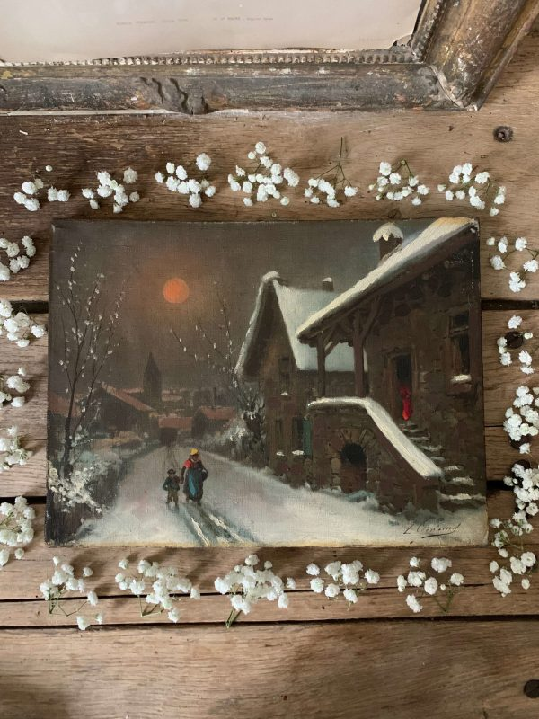 ancienne peinture à l'huile sur toile neige xixeme