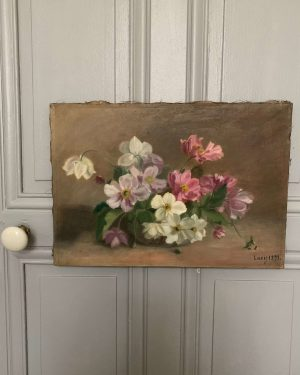ancienne huile sur toile fleurs xixeme