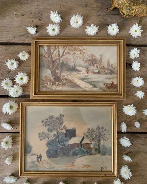 ancienne peinture neige aquarelle