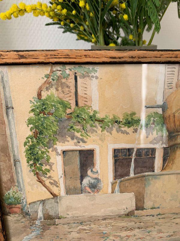 ancienne aquarelle place de village