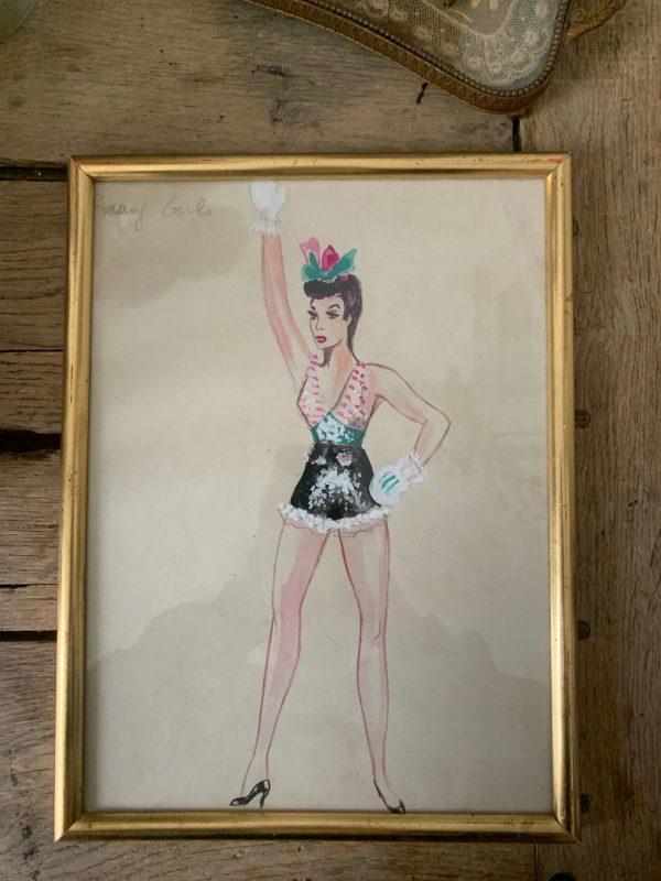 ancienne peinture de femme boxe vintage années 50