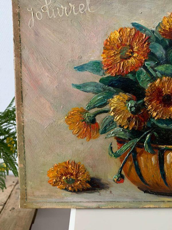 ancienne peinture fleurs calendula