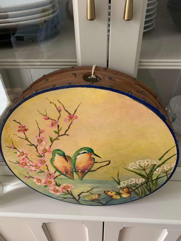 ancien tambourin peint oiseaux